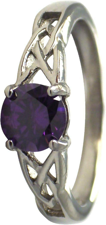 Colorado Springs Mall Ð¡harm - February Celtic Birthstone Z Ring Los Angeles Mall Amethyst Purple Cubic
