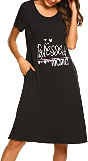 Ekouaer Nightshirts Women Sleepwear Short Sleeve Crew Neck Loungewear Nightgown S-XXL