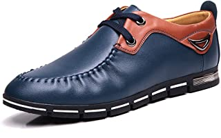 Shoes Comfortable Oxford Shoes for Men Causal Shoes Lace Up Microfiber Leather Low Top Casual Business Fashion (Color : Blue, Size : 7 UK)