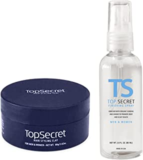 Top Secret Hair Thickening Fibers - Pre-Application Grooming Clay and Finishing Spray w/ Free Travel Bag