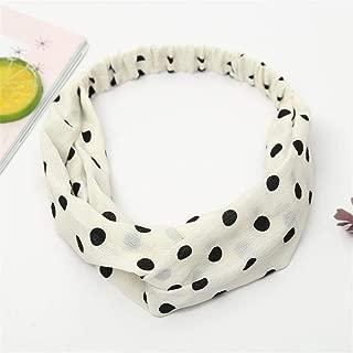 MOPOLIS Womens Boho Floral Twist Knot Headband Elastic Wrap Turban Hair Band Yoga Sports | Color - | Polka Dot | White