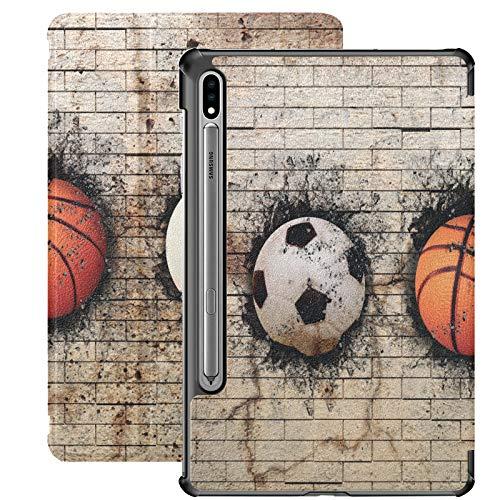 Fútbol Baloncesto Béisbol Beige Pared de ladrillo Funda para Tableta Samsung Galaxy para Samsung Galaxy Tab S7 / s7 Plus Funda para Soporte de Tableta Cubierta Trasera Samsung Galaxy S7 Plus Funda pa