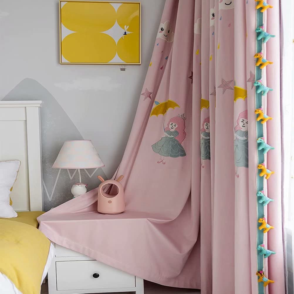 SULIEBE Pink Max 53% OFF Embroidered Kids High quality new Curtains for 96 Inch Girls Room Lo