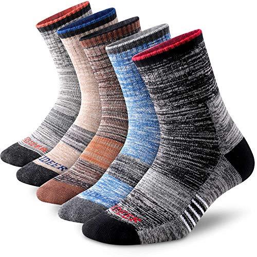 Men's Hiking Walking Socks, FEIDEER 5 pack Outdoor Recreation Wicking Cushioned QuarterCrew Socks for Men (5MS20205-XL)