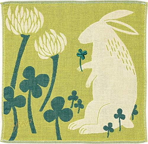 楠橋紋織 3重ガーゼハンカチ MiW ウサギ グリーン 約25×25cm A-67263-86-G