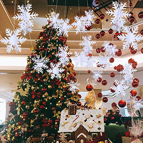 sylbx 2 Pack Weihnachten Winter Schneeflocken Set 3D Schneeflocke Hängende Ornamente Girlande Schneeflocke Deko für Zuhause Weihnachtsfeiertag Party Geburtstag Winter Dekorationen