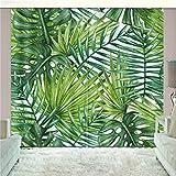 LGXINGLIyidian Tratamiento De La Ventana Cortina Blackout Super Suave Planta Tropical Verde Densa con Hojas Grandes Impresión 3D Cortinas con Ojales con Aislamiento Térmico 265(H) x200cm(W) x2