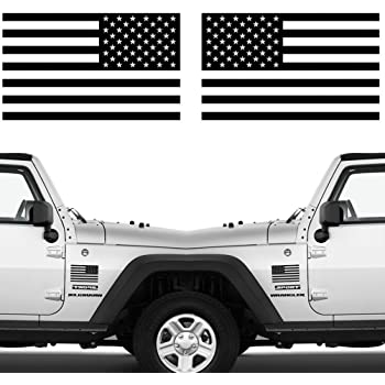 """CREATRILL Die Cut Subdued Matte Black American Flag Sticker 3"""" X 5"""" Tactical Military Flag USA Decal Great for Jeep, Ford, Chevy, Hard Hat. Car Vinyl Window Bumper Decal Sticker (1 Pair)"""