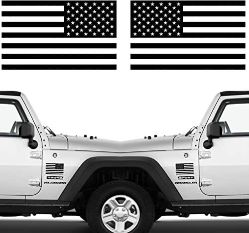 "Die Cut Subdued Matte Black American Flag Sticker 3"" X 5"" Tactical Military Flag USA Decal Great for Car, Hard Hat. C..."