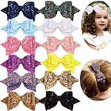 12PCS Girls Hair Bows 5 Inch Large Big Bling Sparkly Sequin Glitter Hair Bows Alligator Hair Clips Fashion Hair Accessories for Girls Toddlers Kids Teens Women