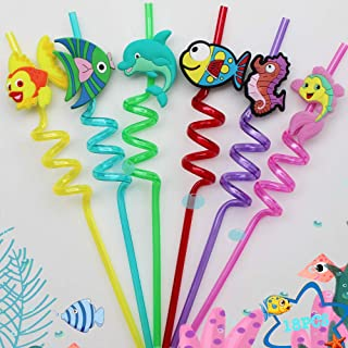 Fishing Party Decorations Drinking Plastic Straws Reusable - 18 pcs for Fish Birthday Party favor Decorations
