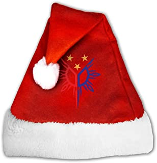 Tribal Philippines Filipino Sun and Stars Flag Velvet Christmas Hat with Plush Trim &and Comfort Liner