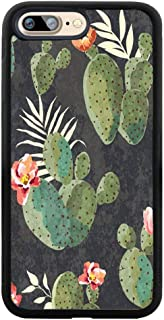 iPhone Case for iPhone 7 Plus / 8 Plus Succulent Cactus and Flowers Customized Design by Soft TPU and PC Hard Back Cover Shock-Proof Protective Case [Anti-Slippery]