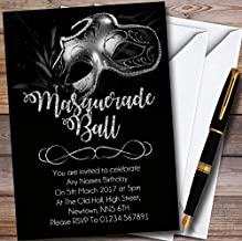 Silver Glitter Mask Masquerade Ball Personalized Party Invitations
