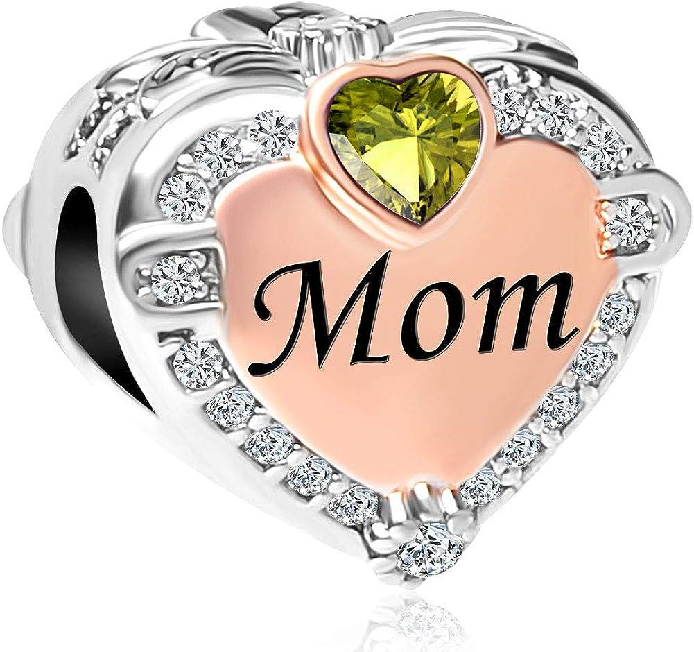 ShinyJewelry Mom Heart Love Charm Rose Gold Bead for Bracelet