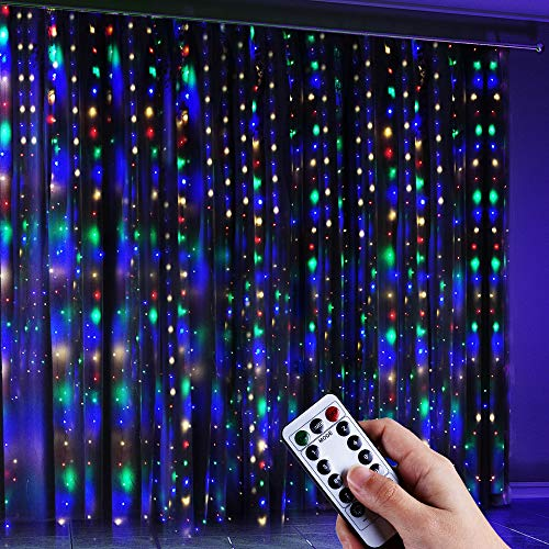Anpro LED USB Lichtervorhang 3m x 3.2m, 320 LEDs USB Bunt Lichterkettenvorhang mit 8 Lichtmodelle für Partydekoration deko schlafzimmer, Innenbeleuchtung, Bunt (Rot, Grün, Blau, Warmweiß)