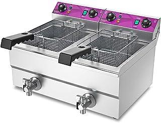 Deep Fryer Friteuse Profonde 4800 W Friteuse Profonde Comptoir Électrique 26L Double Réservoir Restaurant Qualité en Acier...
