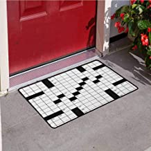 RelaxBear Word Search Puzzle Universal Door mat Blank Newspaper Style Crossword Puzzle with Numbers in Word Grid Door mat Floor Decoration W31.5 x L47.2 Inch Black and White