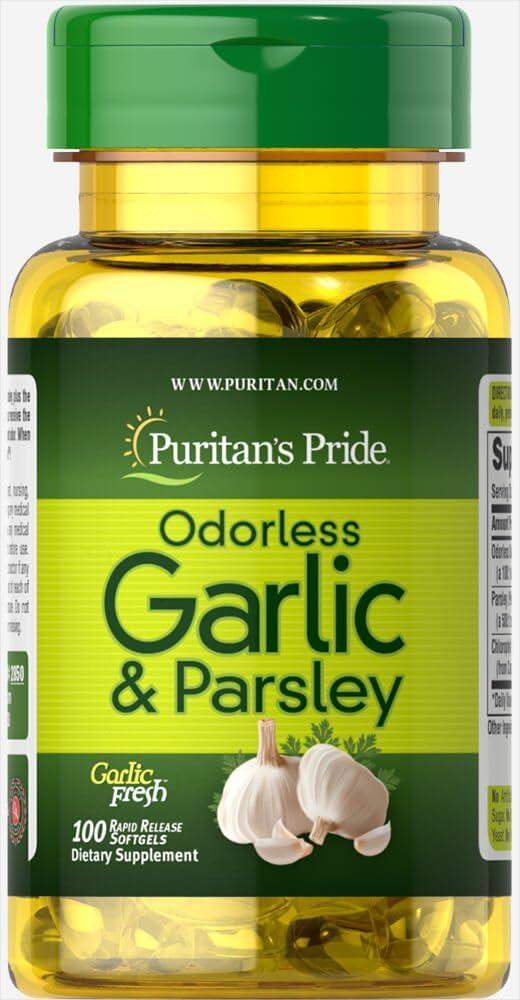 Puritan's Pride Odorless Garlic Parsley mg famous mg-100 500 Ra 100 Popular products