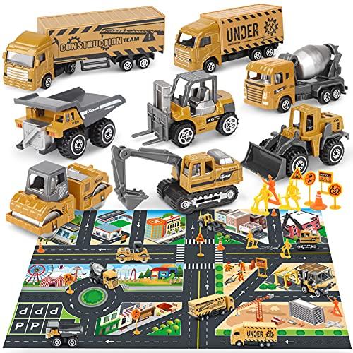 Dreamon Baustelle Lastwagen Legierung Mini Autos Set für Kinder 3 Jahre, Geschenk Set 8-teilig mit Frei Spielmatte Verkehrszeichen