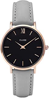 CLUSE Minuit Rose Gold 33mm Analog Display Quartz Watch, Leather Band
