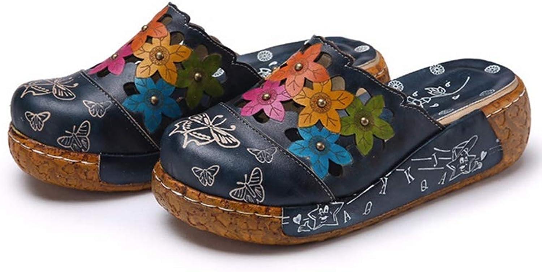 T-JULY Summer Outside Genuine Leather Sandals shoes Handmade Flower Slippers Slides Flip Flops Platform Clogs for Women