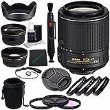 Nikon AF-S DX NIKKOR 55-200mm f/4-5.6G ED VR II Lens + 52mm 3 Piece Filter Set (UV, CPL, FL) + 52mm +1 +2 +4 +10 Close-Up Macro Filter Set with Pouch + Lens Cap + 52mm Wide Angle Lens Bundle