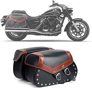 Par de Bolsas Laterales universales Oregon de Piel para Moto Custom con frange AMAS The Best
