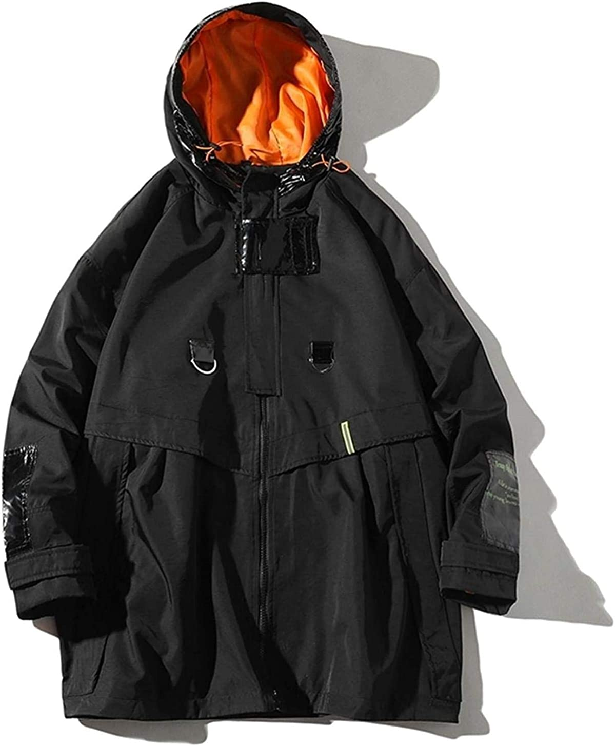 Streetwear Trench Coat Men Autumn Windbreaker Mens Hooded Jackets Coats Harajuku Vintage Patchwork Windbreaker