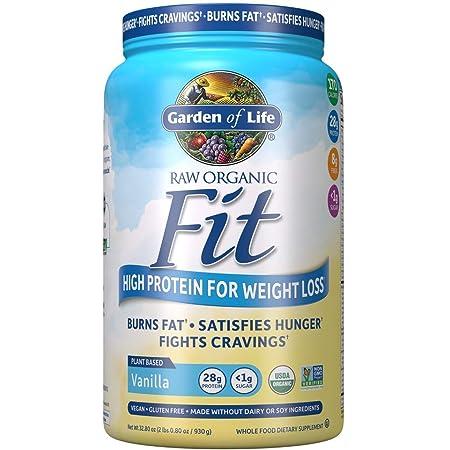 Garden of Life Raw Organic Fit Powder, High Protein for Weight Loss (28g) Plus Fiber, Probiotics & Svetol, Non-GMO Vegan Nutritional Shake, Vanilla, 32.8 Oz