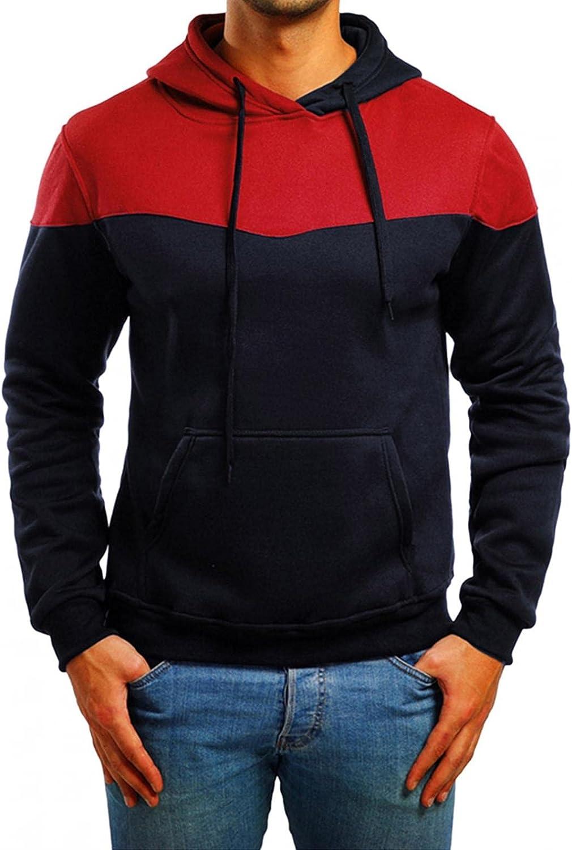 Huangse Men's Hooded Sweatshirt Color Block Long Sleeve Hoodies Pullover Tops Sports Jacket Athletic Wear