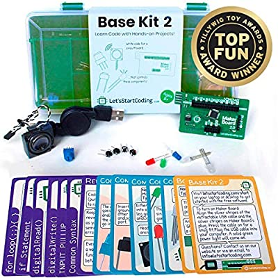 Base Kit 2 - New for 2019- for Boys and Girls 8,9,10,11,12 to Learn Computer Programming and Circuits - Over 50 Free Online Projects to Teach S.T.E.A.M. Skills from Let's Start Coding