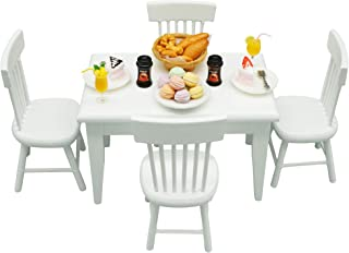 Miniature Dollhouse Furniture Kitchen Set (32pcs) – Dining Room Wooden Table with..