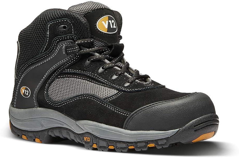 V12 Track, S1P Mesh Safety Hiker, Size 05, Black Graphite