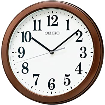セイコークロック 掛け時計 01:茶メタリック 本体サイズ:直径28×4.8cm 電波 アナログ コンパクトサイズ 値札なし BC404B