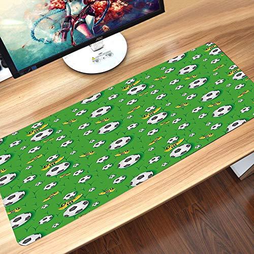 Gaming-Mauspad Gummiunterseite,Fußball, Profispieler Leichtathletik Muster Fußballschuhe Bälle auf Gras Deko,Schreibtischunterlage Abwischbar Anti Rutsch Matte Multifunktionales Office Mousepad60x35cm
