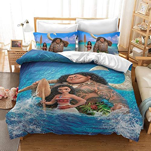 Probuk Juego de ropa de cama de Disney Moana Vaiana, 100% microfibra, funda nórdica para niños y niñas, con funda de almohada (A-04,220 x 240 cm (50 x 75 cm)