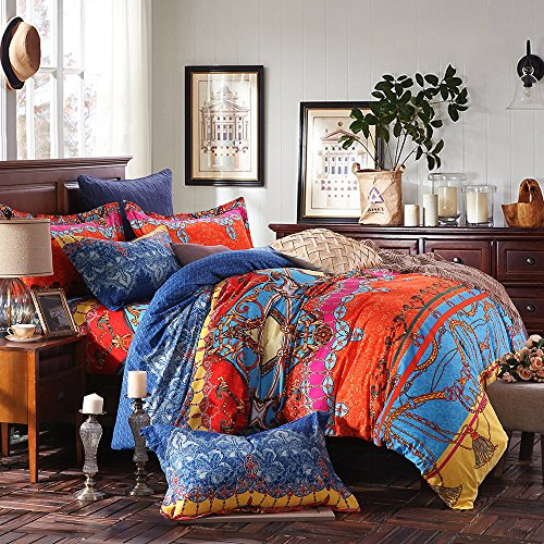 LELVA Bohemian Ethnic Patterns Bedding, Cotton Boho Duvet Cover, American Style Bedding, Queen King Size 4pcs (Fitted Sheet, Queen)