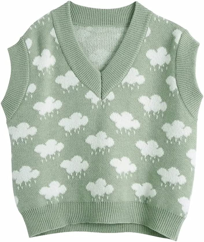JJSPP Women Fashion V Neck Cloud Pattern Knitting Sweater Female Sleeveless Casual Slim Vest Chic Leisure Pullovers Tops (Color : Green, Size : L Code)