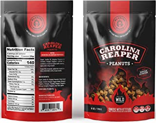 Carolina Reaper Peanuts small batch Super Jumbo Peanuts fused with the world's hottest pepper crunchy, sweet, intense and insanely addictive - Perfect gift for spicy food and hot snack lovers (Wild)