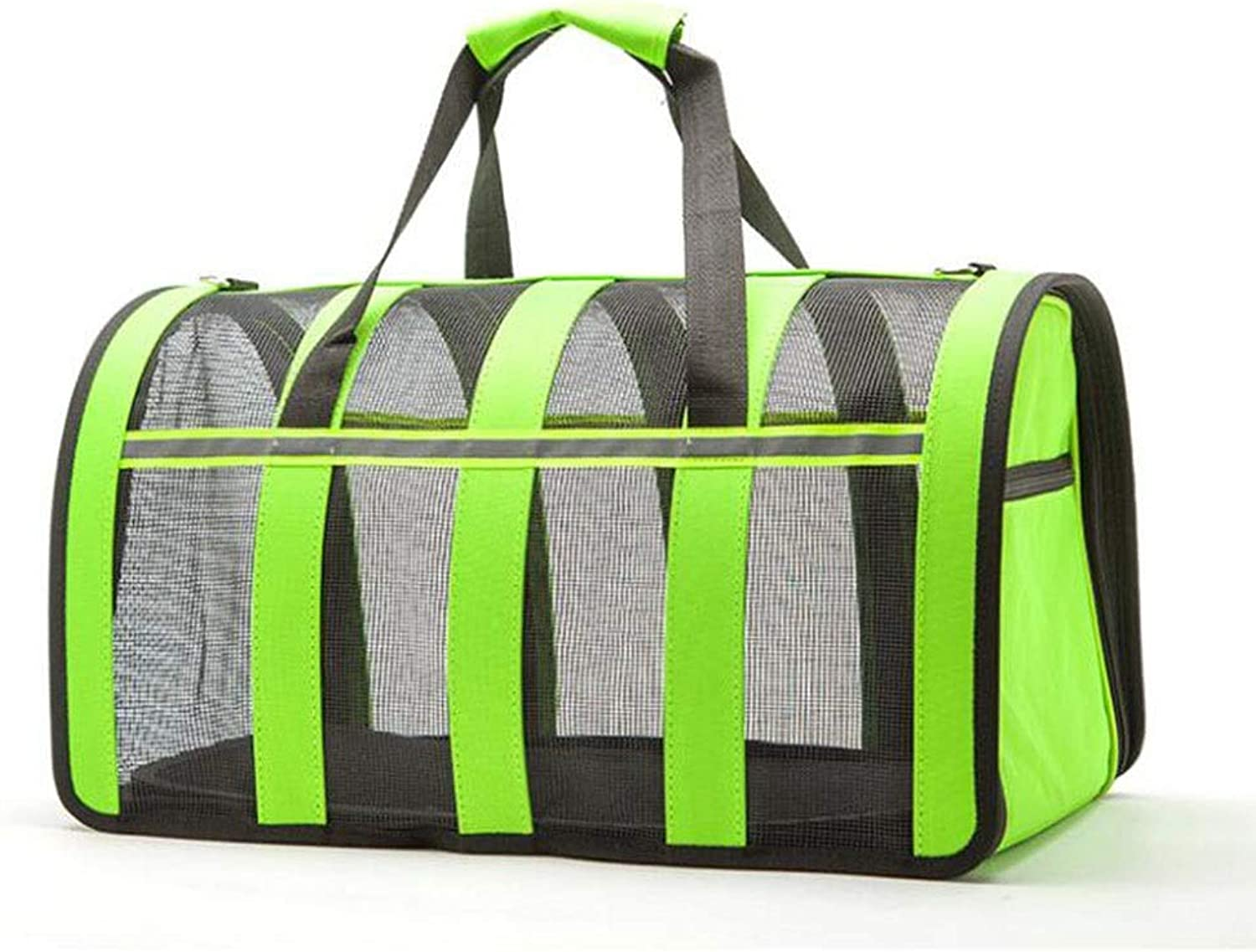 Pet Bag Small Pet Outing Bag Portable Adjustable Tote Bag Breathable Tote Bag (color   Fluorescent Green, Size   43  24  25cm)