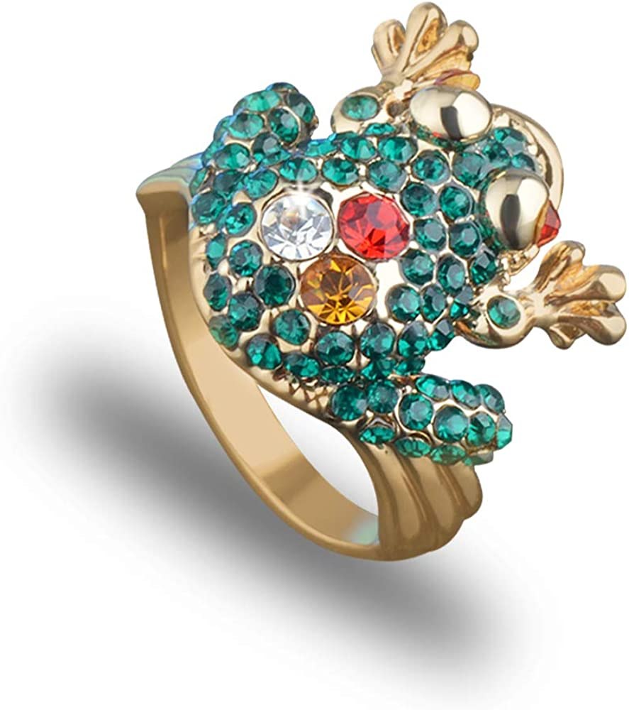 Mulgro Green Crystal Frog Ring Cute Animal Finger Ring 18K Gold Frog Rings Jewelry Rhinestone Statement Rings for Women Girl
