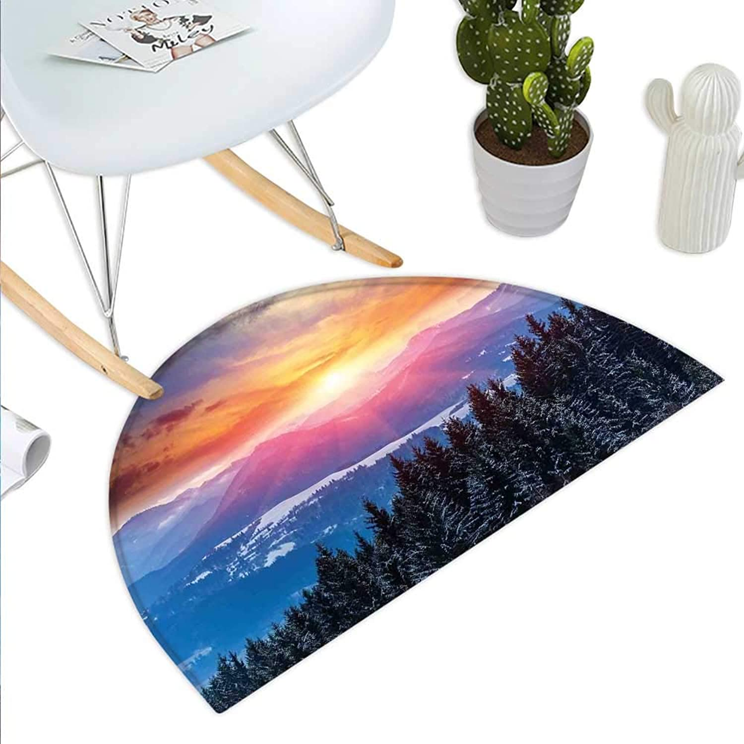 Winter Semicircle Doormat Sunset in Mountains with Hazy Sky with Magical Dawn Horizon Theme Halfmoon doormats H 31.5  xD 47.2  orange bluee