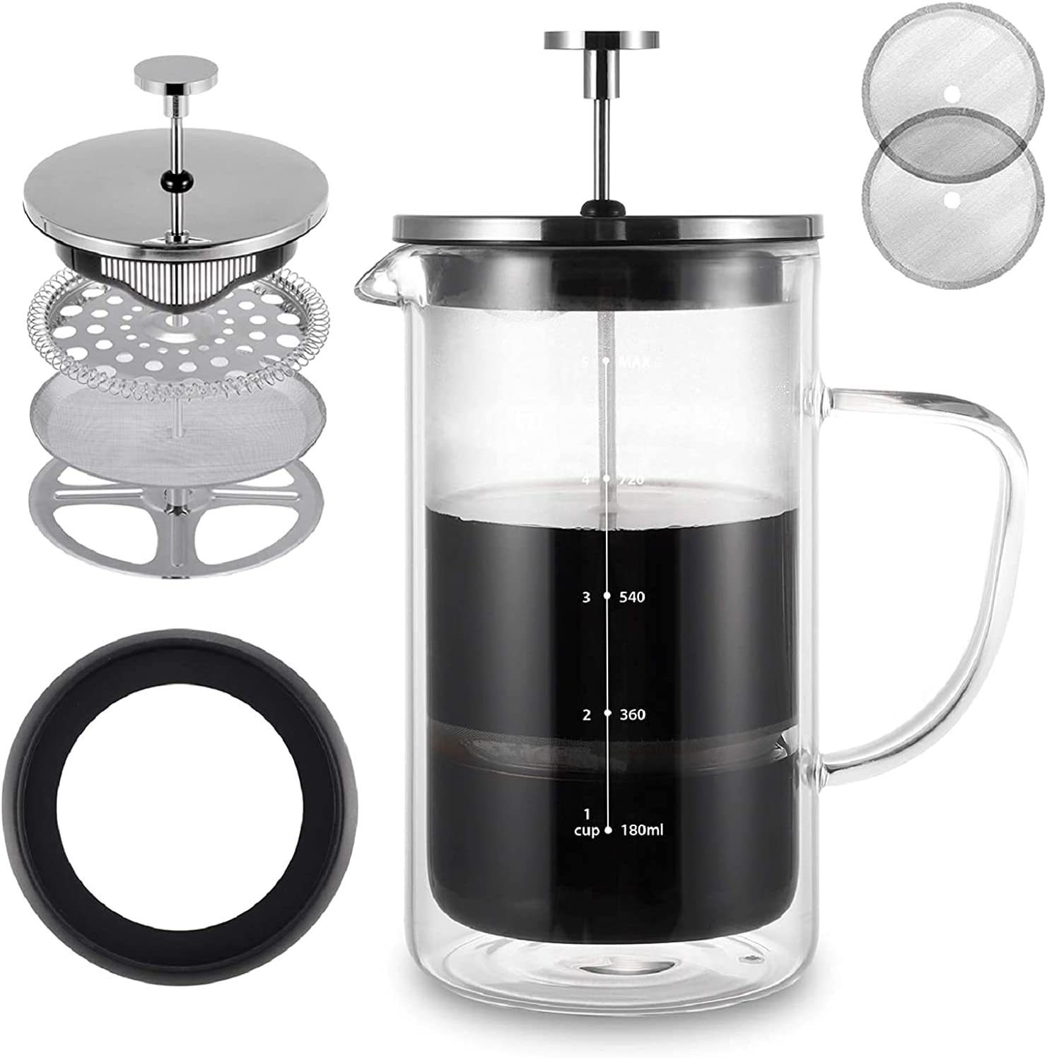 French Press Coffee Maker 21 67% OFF of fixed price Ranking TOP20 Wall Double oz Insulat