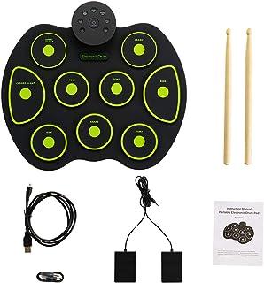 Locisne Kit de batterie électronique portable plaiable kit de batterie électaronique enraoulable avec 9 pads de batterie, ...
