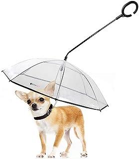 LESYPET Dog Umbrella - Adjustable Pet Dog Umbrella with Leash for Small Pets (Upgraded Flexible Handle)