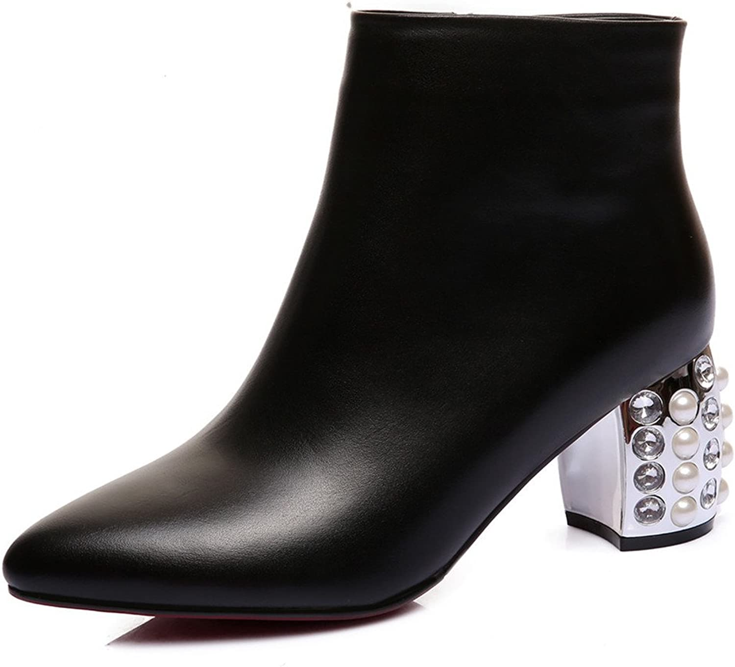 Nine Seven Genuine Leather Women's Pointy Toe Exquisite Heel Style Handmade Sexy Ankle Boots