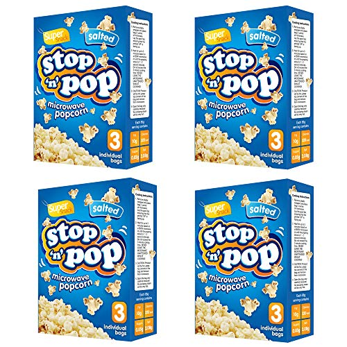 Stop n Pop Microwave Salted Popcorn 12 x 85g | Whole Grain Kernels | Super Snack for The Family | Comes with Free e-Book on Quick Snack Ideas for All Ages