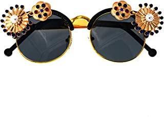 LUKEEXIN Colorful Metal Flower Baroque Sunglasses with Pearl Decoration for Women Driving Travelling (Color : Gold)