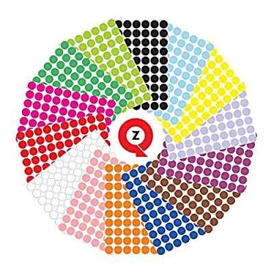 QuZi - Pack of 3920 Round dot Stickers in 14 Colors Labelling with a Circle Stickers Size of 3/4 inch. (Multicolor)